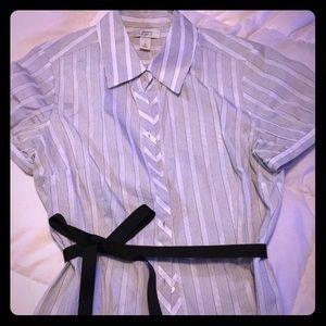LOFT Button Down Ribbon Belted Shirt